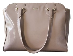 Anna Sui Patent Leather Purse Satchel in beige/taupe