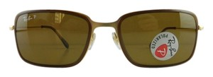 Ray-Ban New Ray-Ban Sunglasses RB 3514-M 149/83 Matte Gold Metal Full-Frame Polarized Brown 56mm Made in Italy