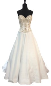 Alfred Angelo White/Met Beaded Satin 222 Formal Wedding Dress Size 6 (S)
