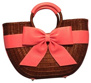 Isabella Fiore Satchel in Rust With Pink Trim