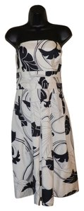 Ann Taylor Strapless Silk Leaves Dress