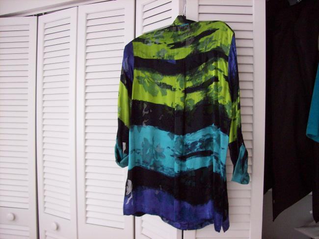 Chico's Top Aqua, Purple, Black, Olive Green