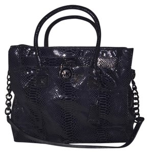 Michael Kors Satchel Snakeskin Tote in Black