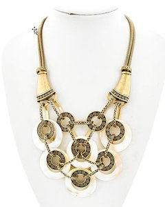 Other Burnished Gold Tone Metal/White Shell Necklace