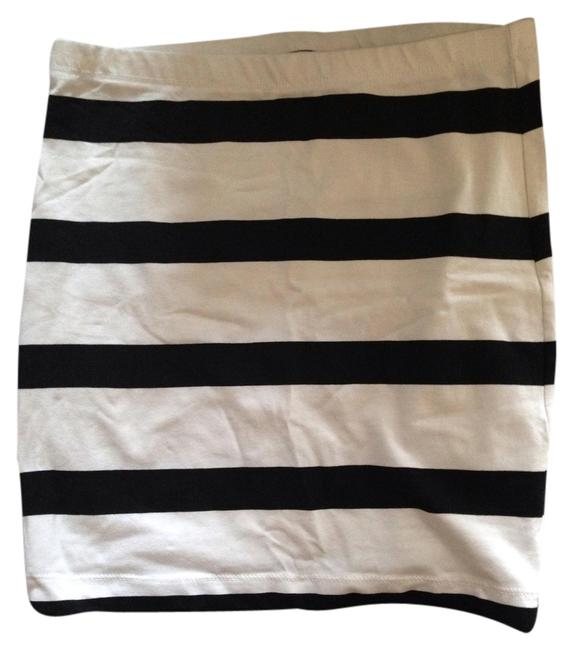 Divided by H&M Bodycon Striped Stretchy Mini Skirt White