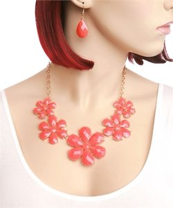 none Statement Necklace and Earring Set