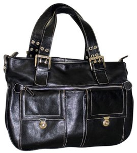 Michael Rome Italy Leather Silver Buckle Shoulder Bag