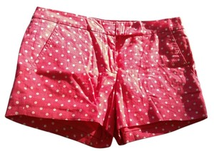 J.Crew Dot Casual Linen Cotton Dress Shorts Pink with White Polka Dots