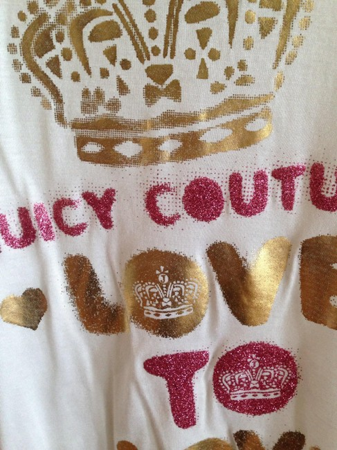 Juicy Couture Sheer Graphic Glitter T Shirt White