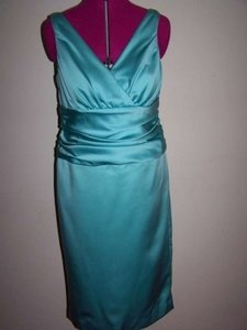 David's Bridal Pool/Tiffany Blue Short Bridesmaid/Mob/Mog Formal Bridesmaid/Mob Dress Size 14 (L)