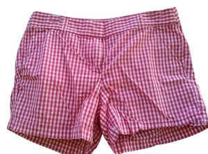 J.Crew Checkered Cotton Dress Shorts Pink and White Checked