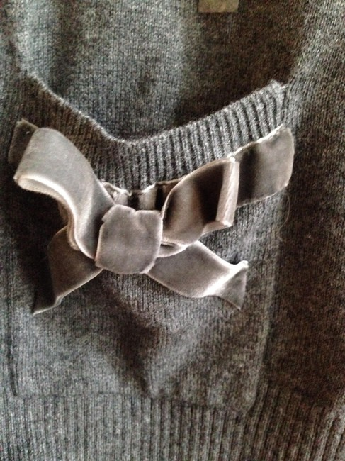 Abercrombie & Fitch Bows Cardigan Buttons Suede Wool Sweater Image 1