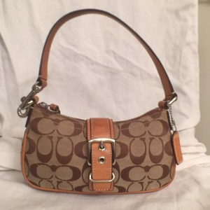 Coach Canvas Leather Signature/logo Hobo Bag