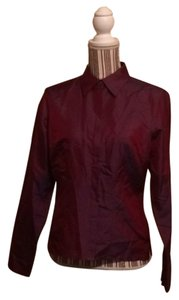 Ann Taylor LOFT Button Down Shirt Metallic Maroon