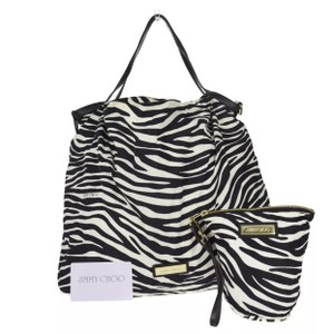 Jimmy Choo Big Zebra Wallet Attatched Tote in Black and White