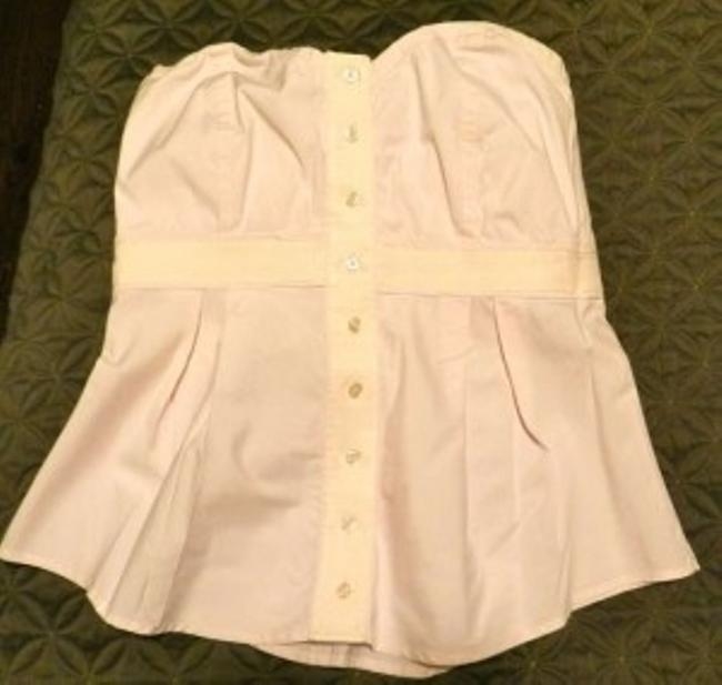 Anthropologie Button Down Strapless Sweetheart Empire Pale Shirt Top Light Pink