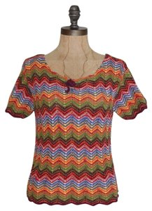 Express Chevron Knit Crochet Top MULTI COLOR