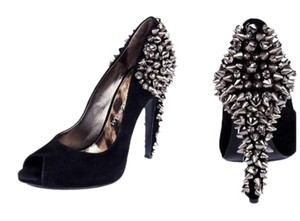Sam Edelman Studded Peep Toe Black Pumps