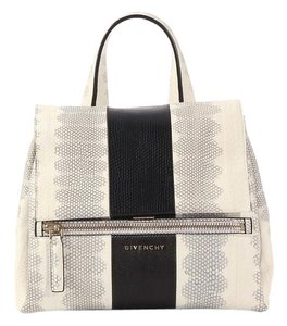 Givenchy Black Cream Snakeskin Pandora Satchel