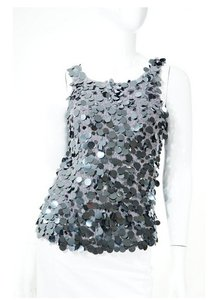 Oscar by Oscar de la Renta Sequin Sleeveless Top Grey Silver