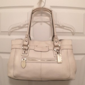 Coach Leather Tote Satchel in White