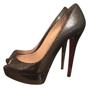 Christian Louboutin Banana Black and Silver Platforms
