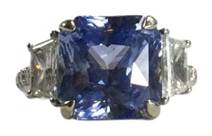 6 Carat Sapphire and Diamond 3 Stone Engagement Ring