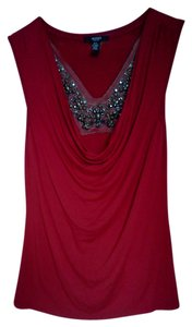 ALFANI Petite Embellished Top Red