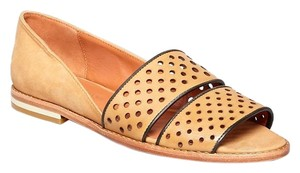 Rebecca Minkoff Open Toe Leather Sandals Tan Flats