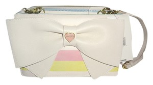 Betsey Johnson Bone Wallet On A String Quilted Heart Cross Body Bag