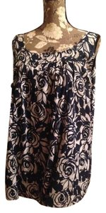 Liz Claiborne Plus-size Geo 18 14 Wedding Top navy rose print