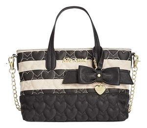 Betsey Johnson Cross Body Tote in CREAM BLACK stripe