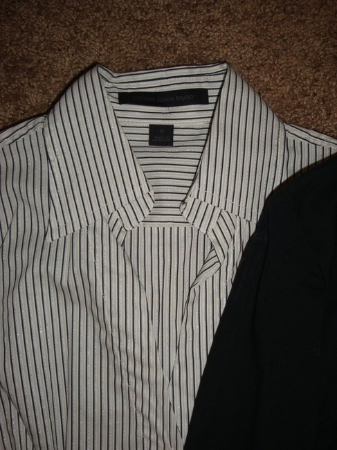 Express Button Down Shirt Black, White, and Pink Image 1