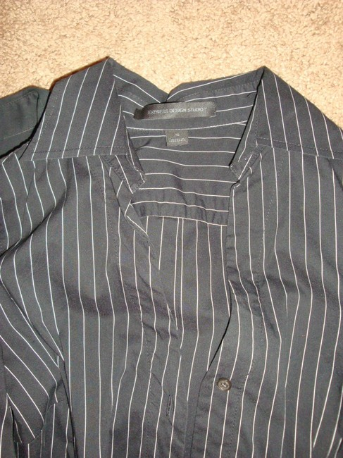 Express Button Down Shirt Black, White, and Pink