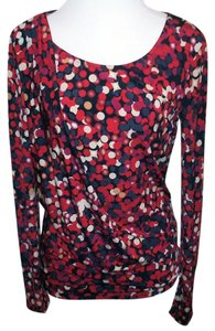 Vince Camuto Draped Geometric Stretch Jersey Ruching Top Red Multi-Color