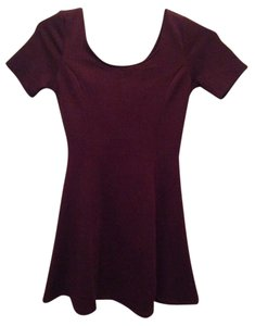 H&M short dress Burgundy wine 4 Divided Skater Fit And Flare Chevron on Tradesy