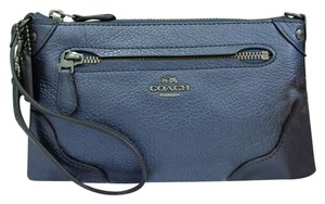 Coach Leather Handbag Tote Wristlet in Pearlized Denim Blue