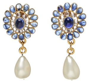 Chanel Chanel Gold and Blue Jeweled Pearl Drop 94P Clip On Earrings
