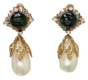 Chanel Chanel Gold and Green Jeweled Pearl Drop 94A Clip On Earrings