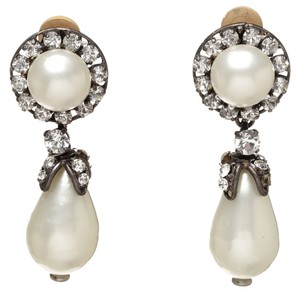 Chanel Chanel Aged Silver and Diamond Pearl Drop 94A Clip On Earrings