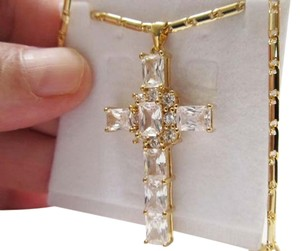 Cross Pendant Clear Color with Chain Gold Plated Zircon