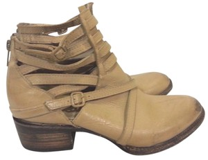 FreeBird Strappy Leather Ankle Taupe Distressed Boots