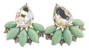 Other 03 Pairs of Earrings Ivory, Green and Salmon Stud Earrings Rhinestone