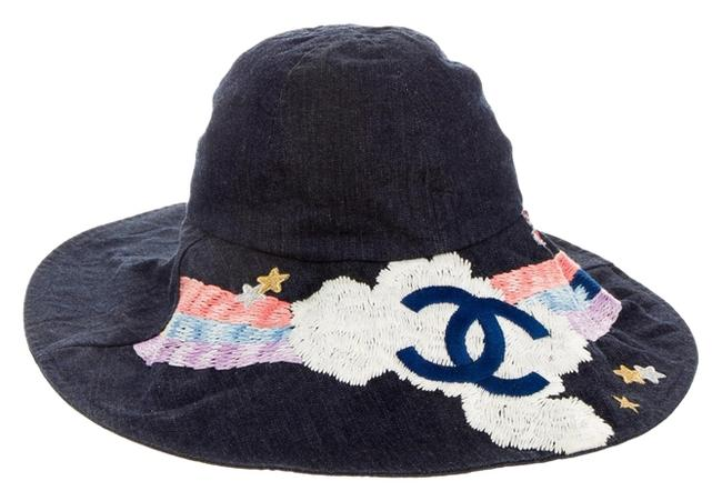 Item - Blue Multicolor Denim Interlocking Cc Logo Small Hat