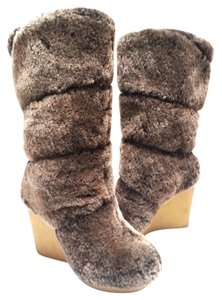 Tory Burch Coconut-dyed Shearling Crepe Wedge Brown Boots