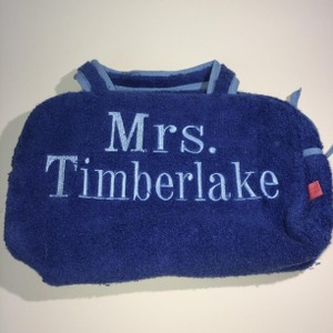 """Other Blue Terry cosmetic bag with handles """"MRS TIMBERLAKE"""""""
