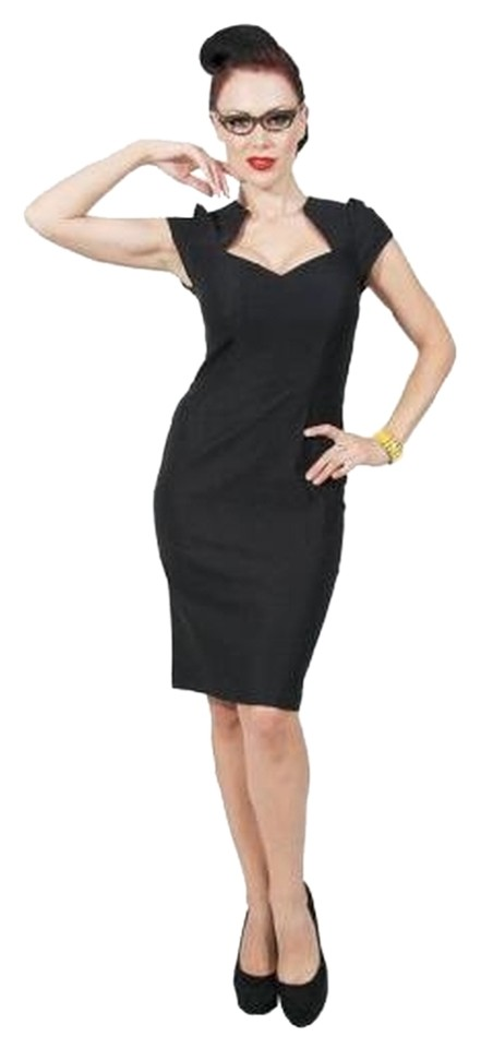 Pinup Couture Black Wiggle Vintage Above Knee Cocktail Dress Size 14