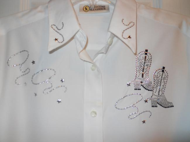 Other Western Sparkle Studded Top White