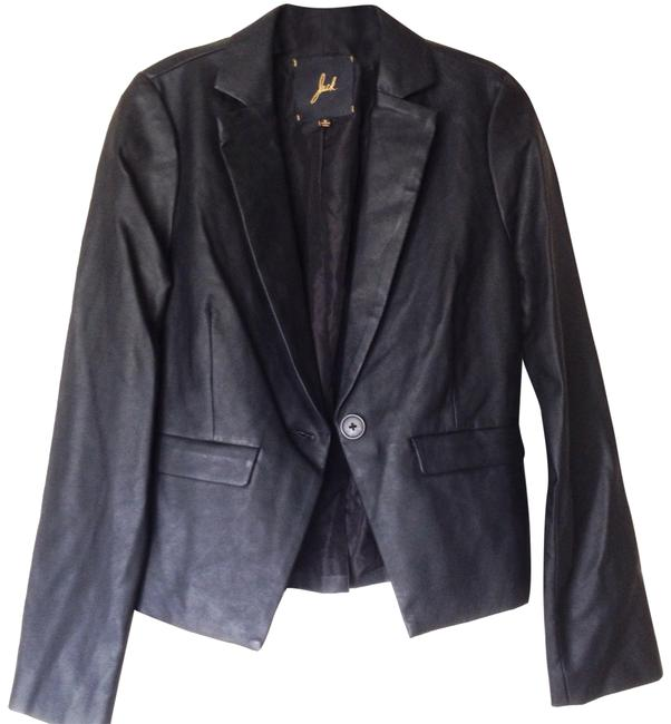 Jack by BB Dakota Black Vegan Leather Suit Jacket. Blazer Size 4 (S) Jack by BB Dakota Black Vegan Leather Suit Jacket. Blazer Size 4 (S) Image 1