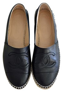 Chanel Leather Espadrilles Lambskin Black Flats